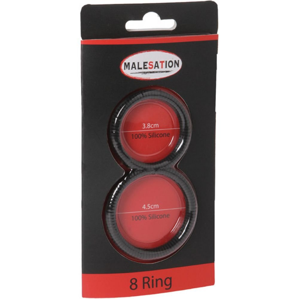 Malesation Silicone 8 Cock and Ball Ring Black - View #1