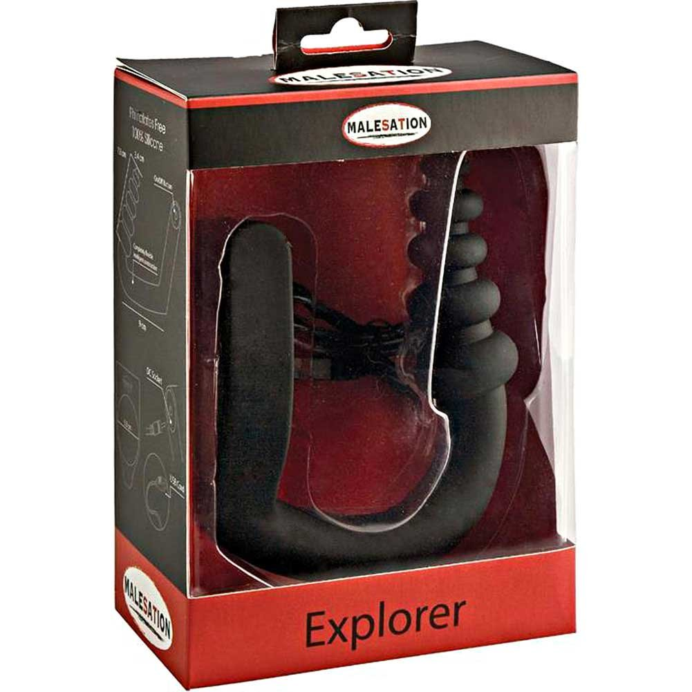 Malesation Explorer Rechargeable Vibrating Cock Ring Anal Plug Black - View #1