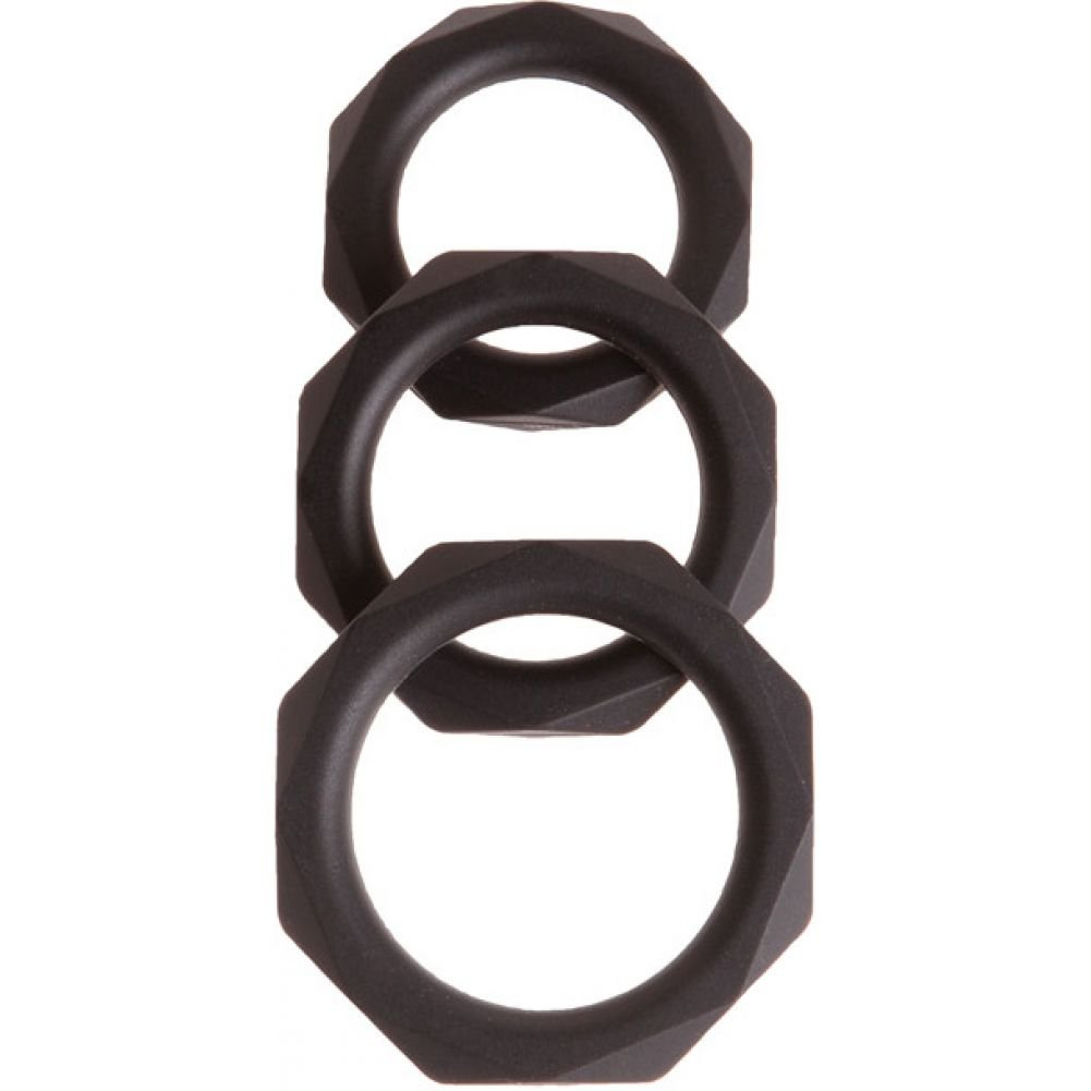 Malesation Diamond Silicone Cock Ring Set Black Pack of 3 - View #2
