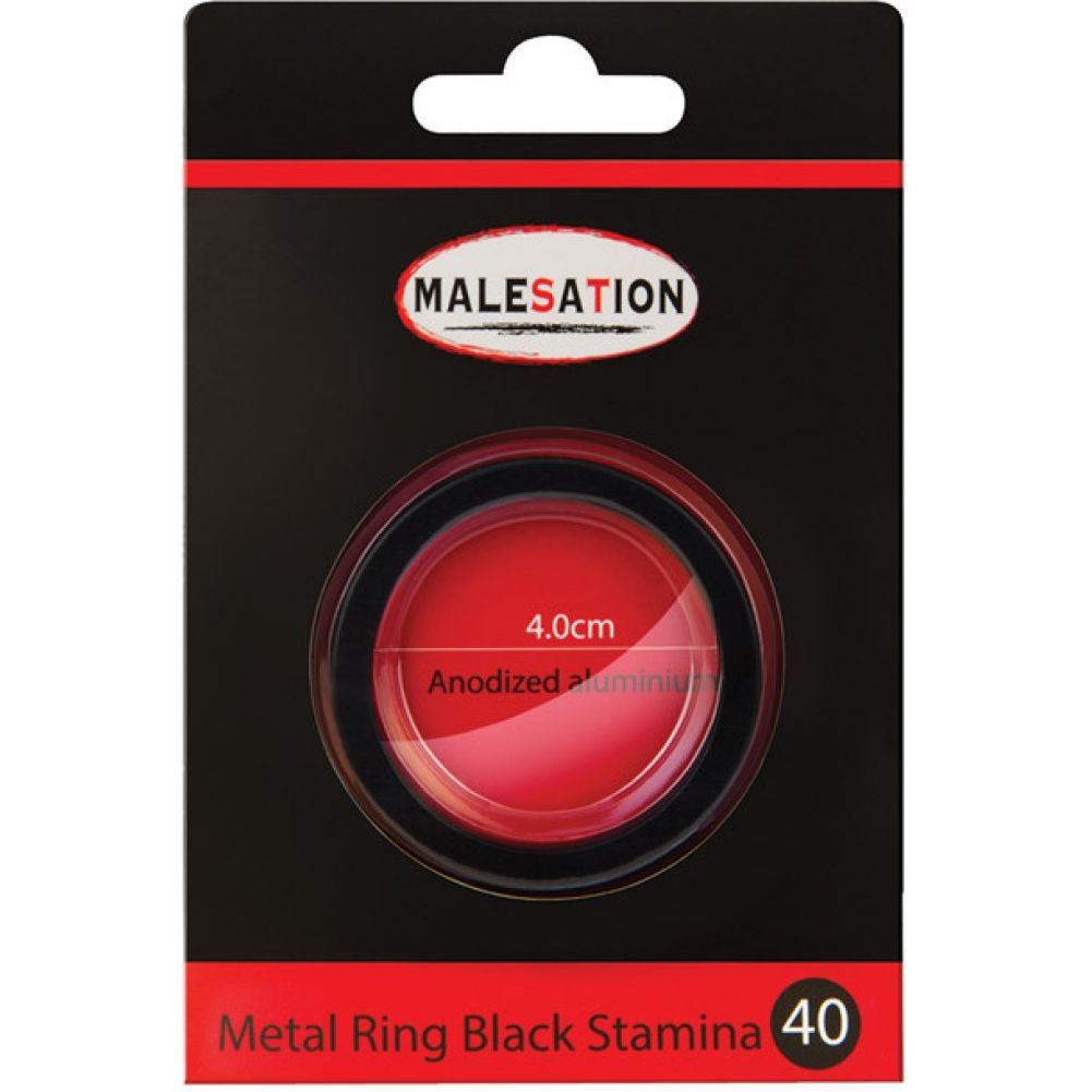 Malesation Nickel Free Metal Stamina Ring Black 40 Mm - View #1