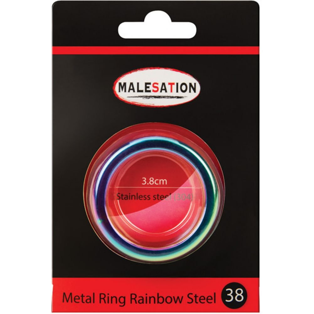Malesation Nickel Free Stainless Steel Rainbow Cock Ring 38 Mm - View #1