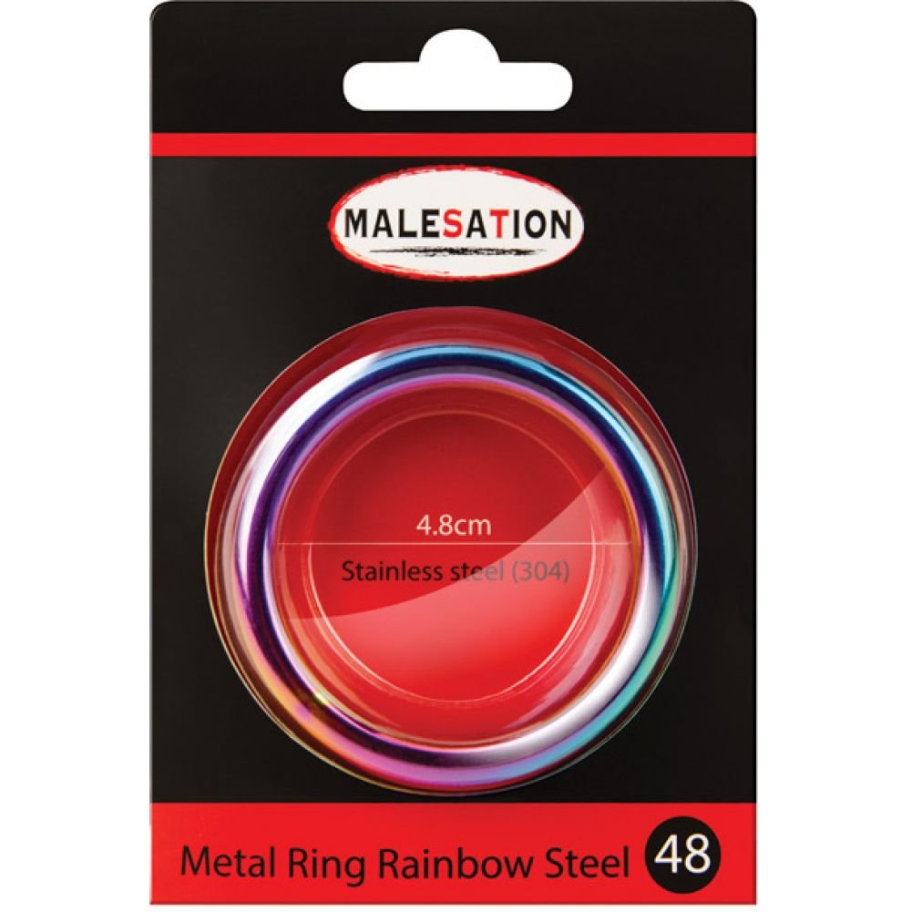 Malesation Nickel Free Stainless Steel Rainbow Cock Ring 48 Mm - View #1