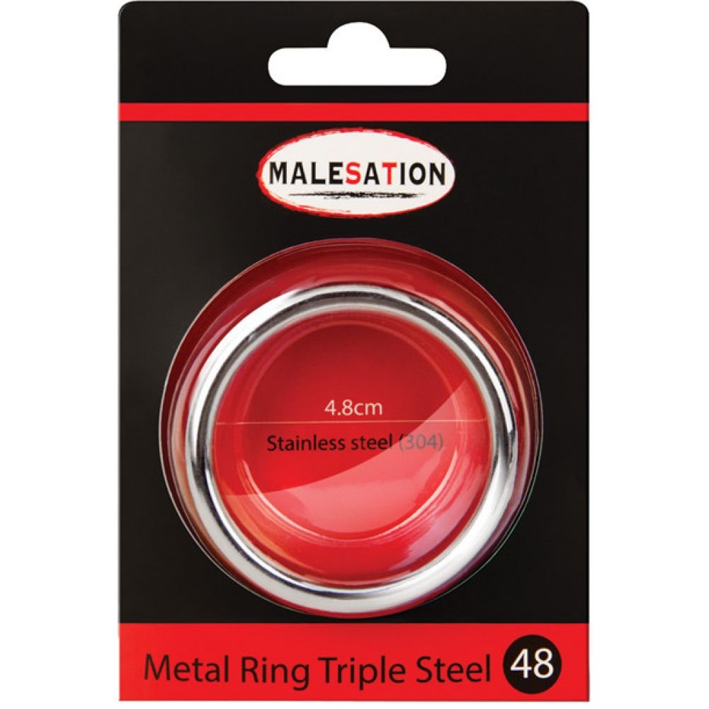 Malesation Nickel Free Stainless Steel Triple Cock Ring 48 Mm - View #1