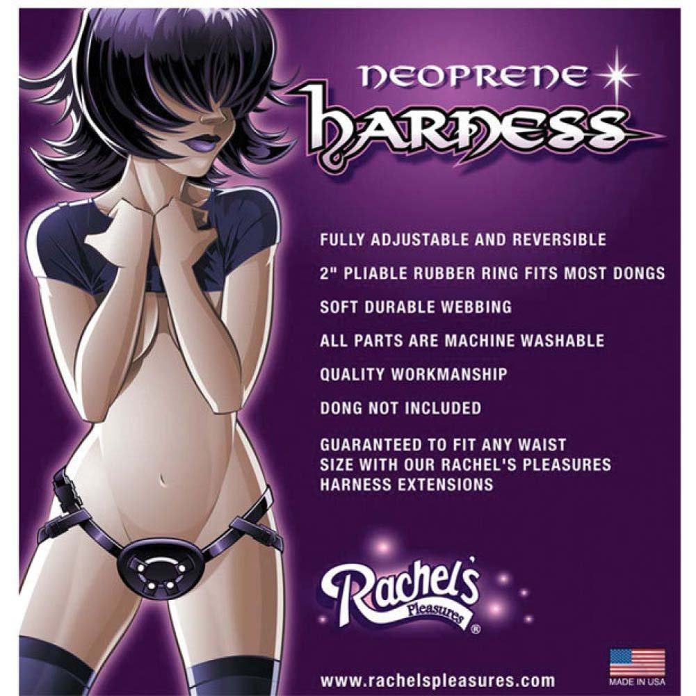 RachelS Pleasures Neoprene Strap-On Harness Black - View #1