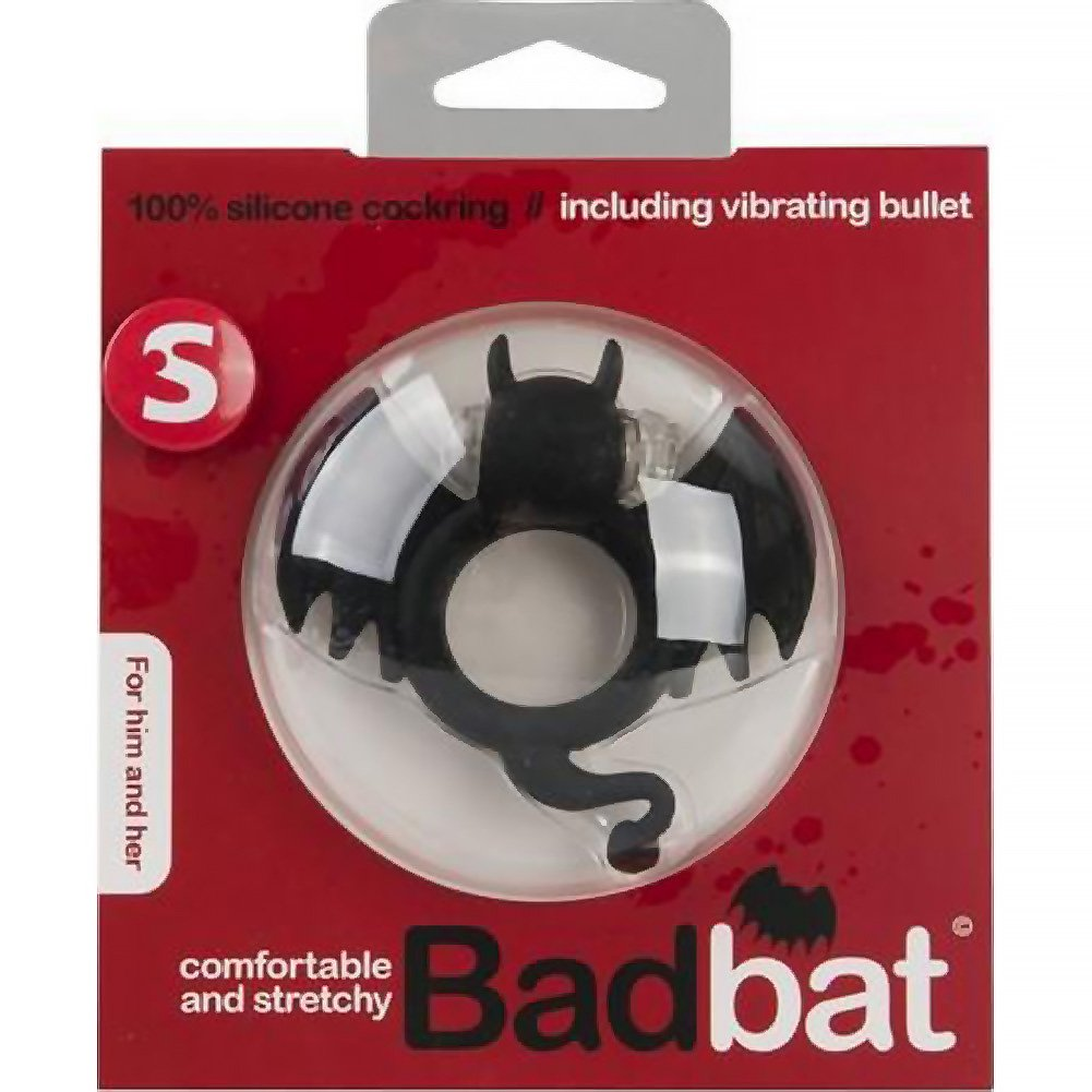 """S-Line Bad Bat Vibrating Cock Ring for Kinky Couples 1.5"""" Frisky Black - View #1"""