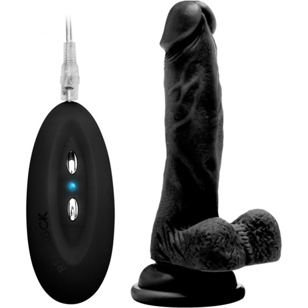 "Shots Realrock Realistic Vibrating Cock and Balls with Suction Cup 7"" Black - View #2"