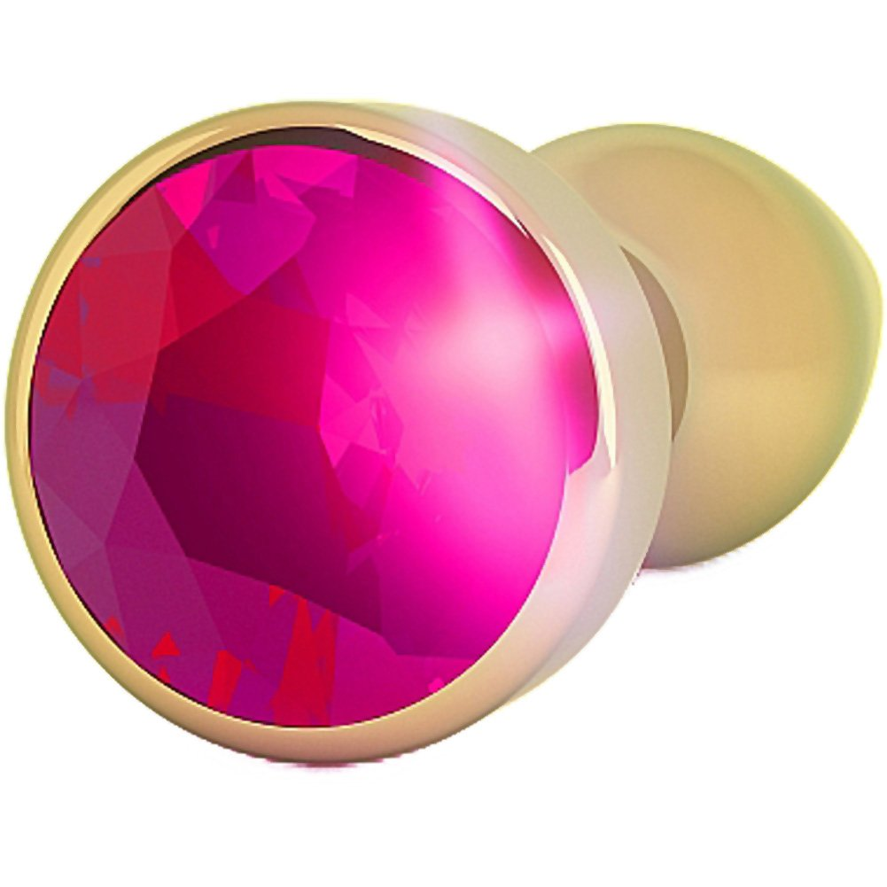 """Rich R9 Metal Anal Plug with Sparkling Sapphire 3.9"""" Gold/Pink - View #3"""