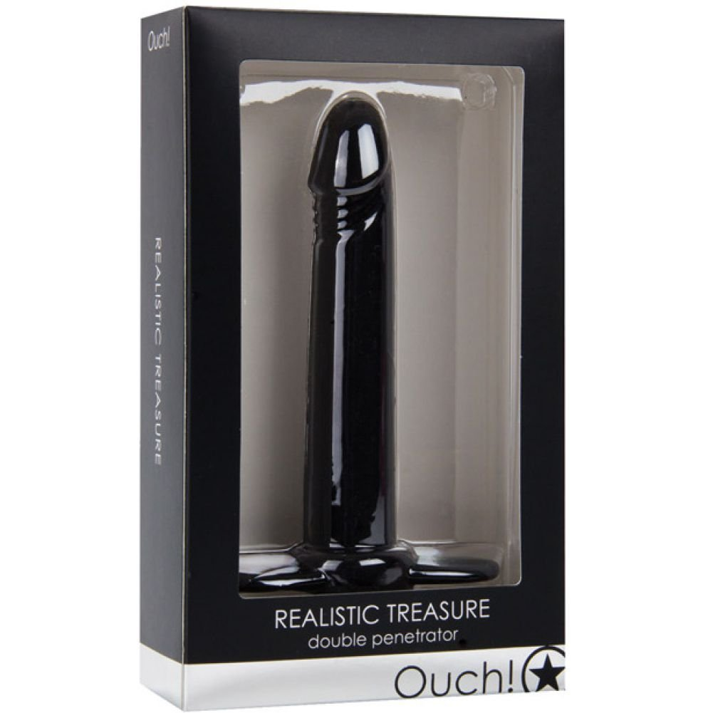 "Ouch Realistic Treasure Double Penetrator Strap-On 5.5"" Black - View #1"