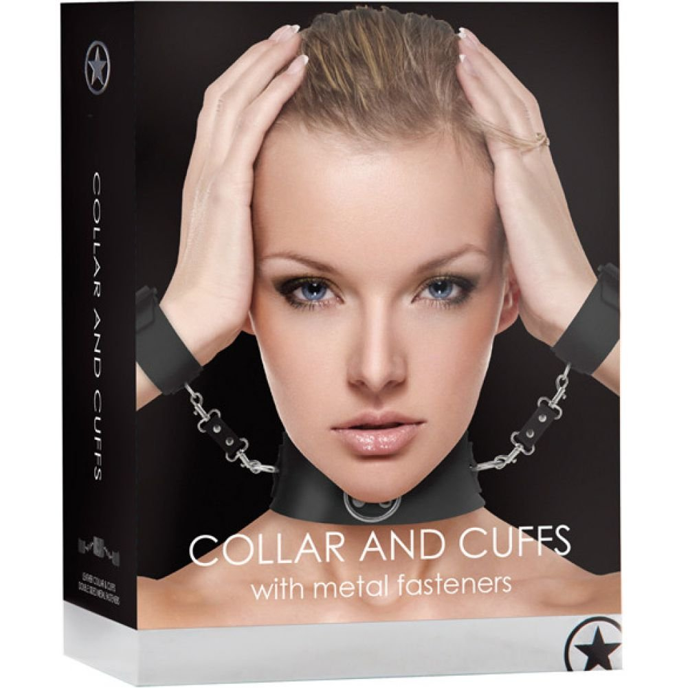 Ouch Bondage Collar with Attached Cuffs Black - View #1