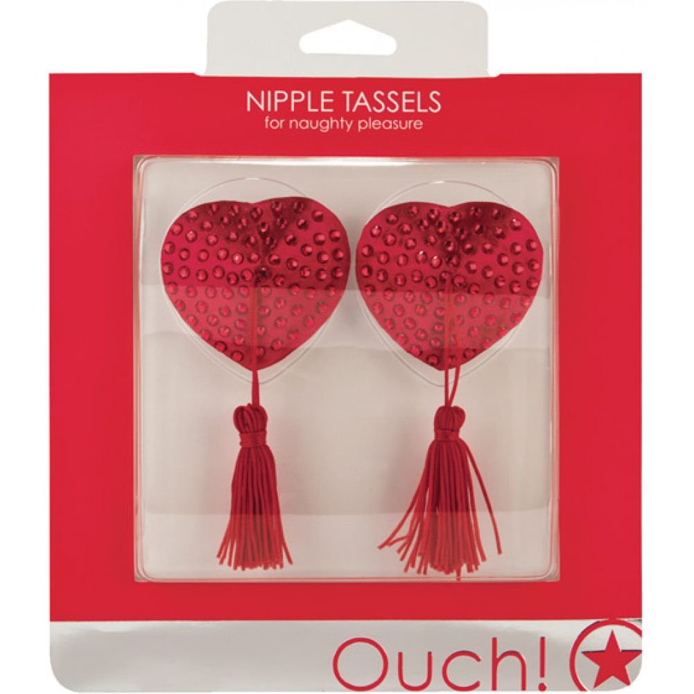 Ouch Heart Shaped Naughty Pleasure Nipple Tassels Red - View #1