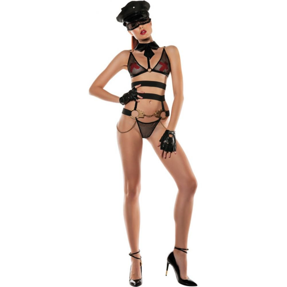 Role Play Officer Bra with Attached Collar Bottom with Attached Handcuffs Small/Medium - View #3