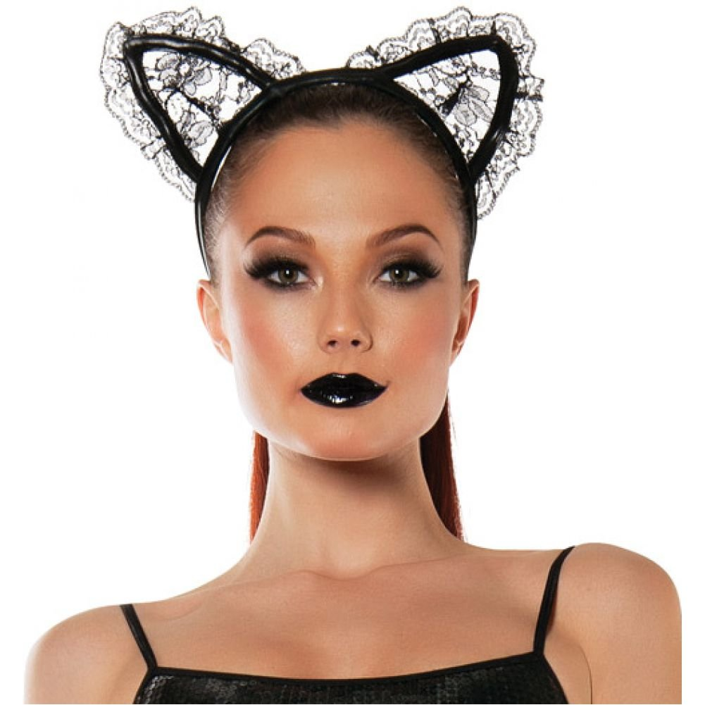 Roleplay Lace Cat Ears Black One Size - View #1