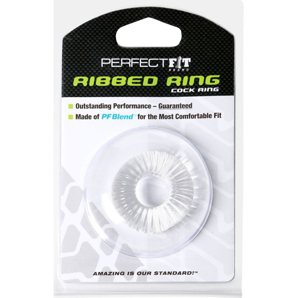 Perfect Fit Ribbed Donut Cock Ring Clear - View #1