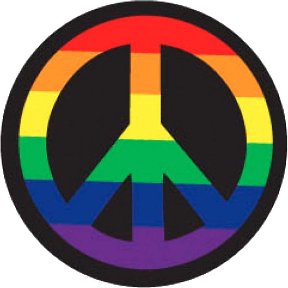Kalan Rainbow Peace Sign Button - View #1