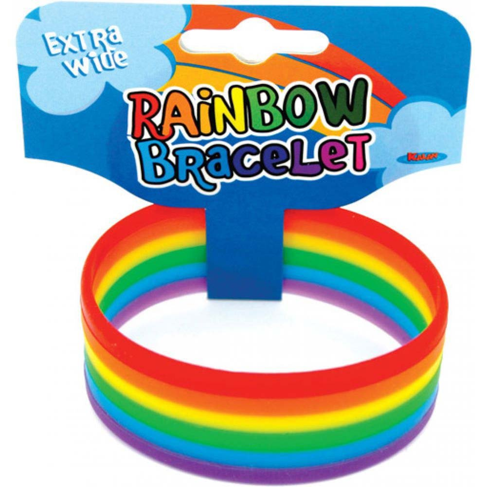 "Thick Rainbow Rubber Band Bracelet 1"" - View #1"