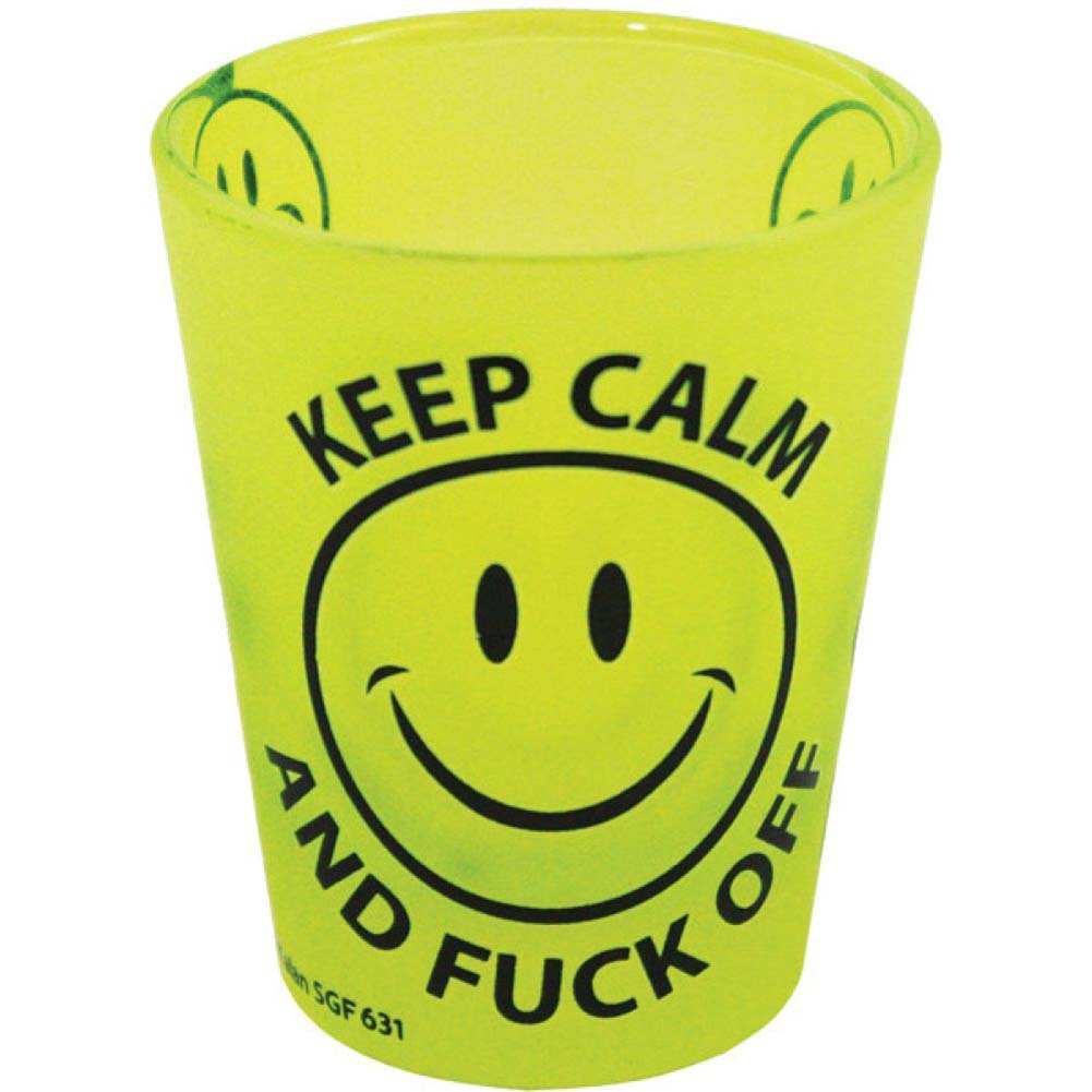 Keep Calm and Fuck Off Shot Glass Yellow - View #1