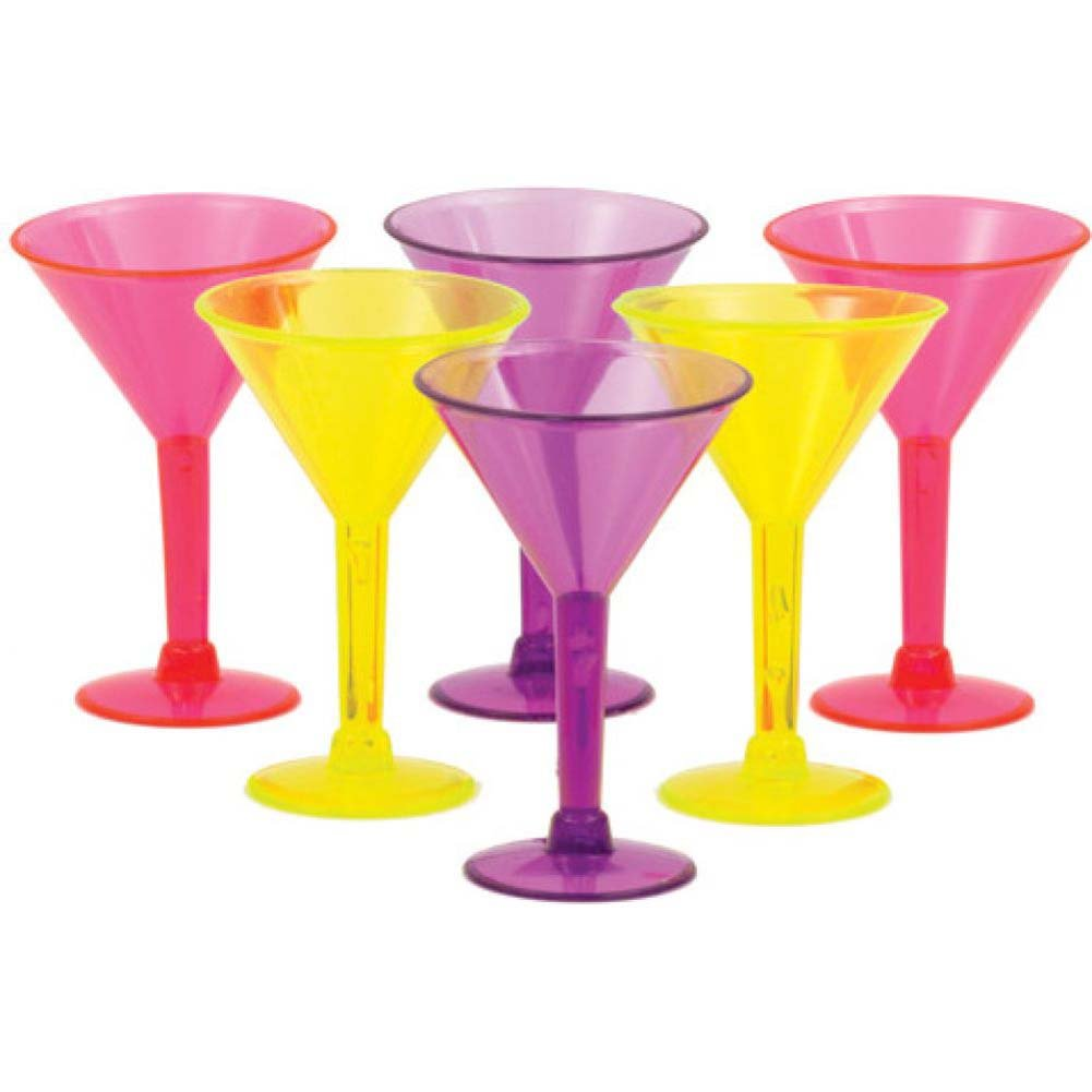 Martini Shot Glasses Assorted Colors 6 Piece Pack - View #1