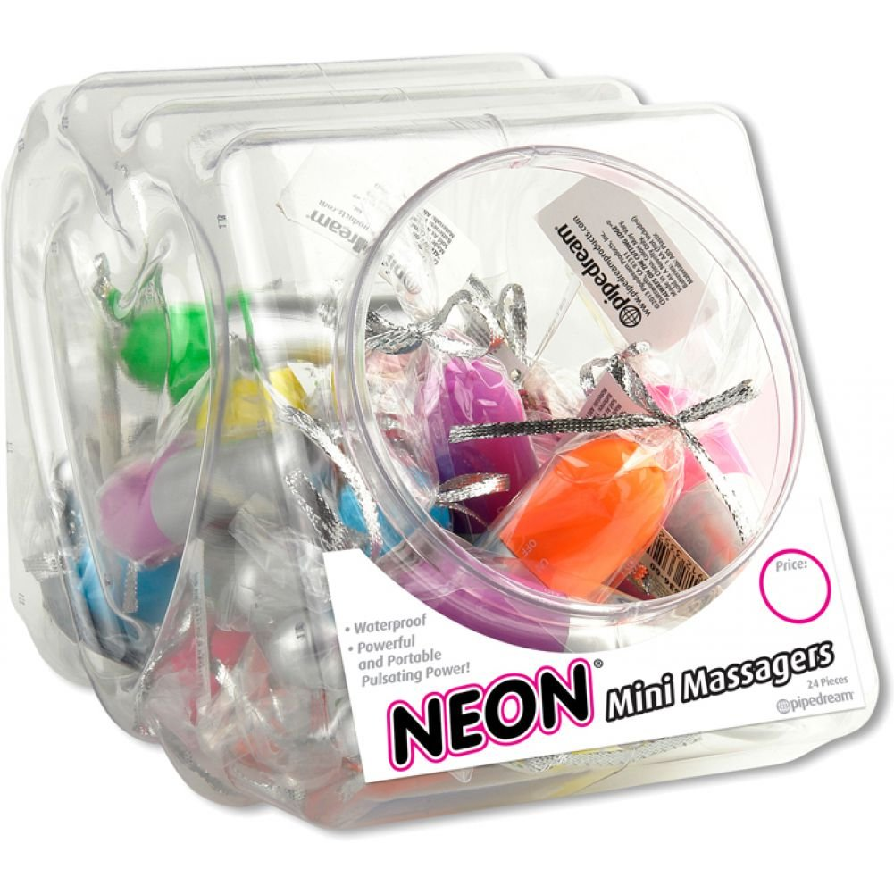 Pipedreams Waterproof Neon Mini Massager Bullets Fishbowl Assorted Colors 24 Count - View #2