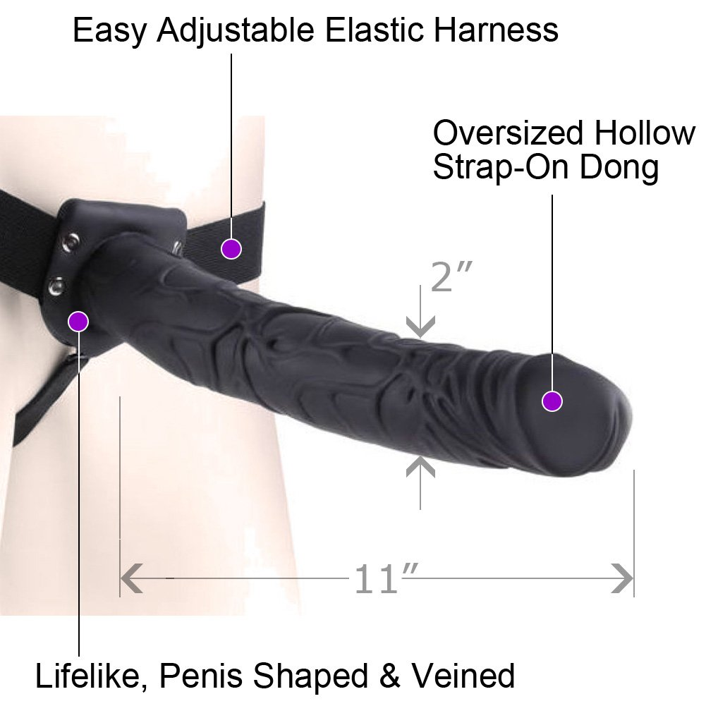 "Pipedreams Fetish Fantasy Series Realistic Hollow Strap-On Dong 11"" Black - View #1"