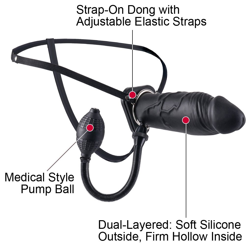 "Pipedreams Fetish Fantasy Inflatable Hollow Silicone Strap-On Dong 8"" Black - View #1"