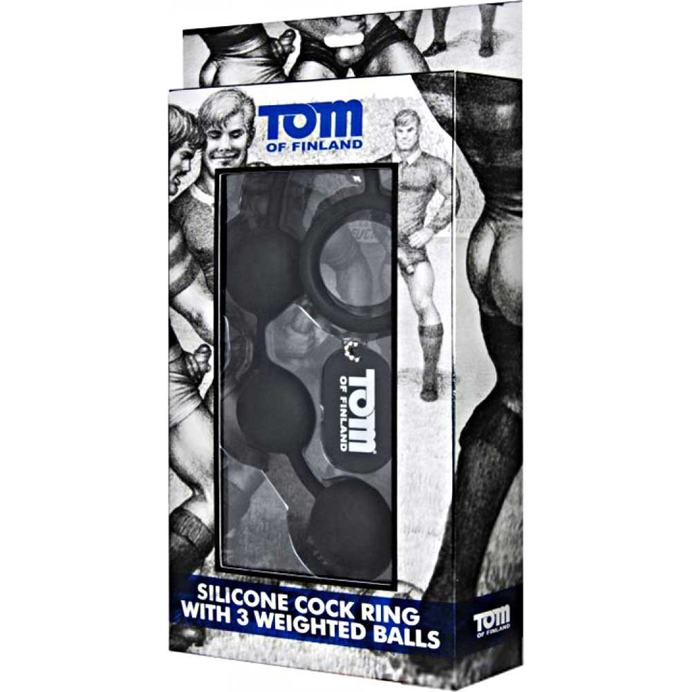 "XR Brands Tom of Finland Weighted 3 Silicone Anal Balls 12"" Black - View #1"