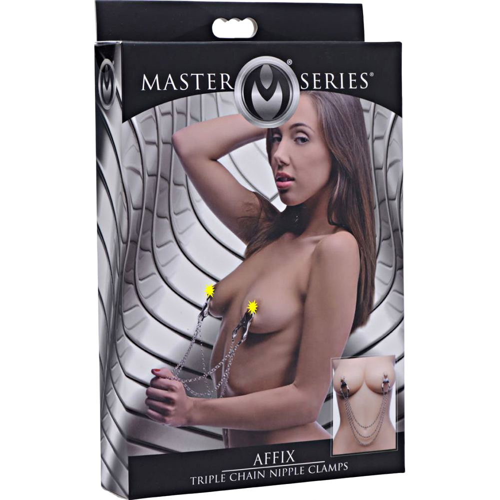 "Master Series Affix Triple Chain Metal Nipple Clamps 2"" Silver - View #1"