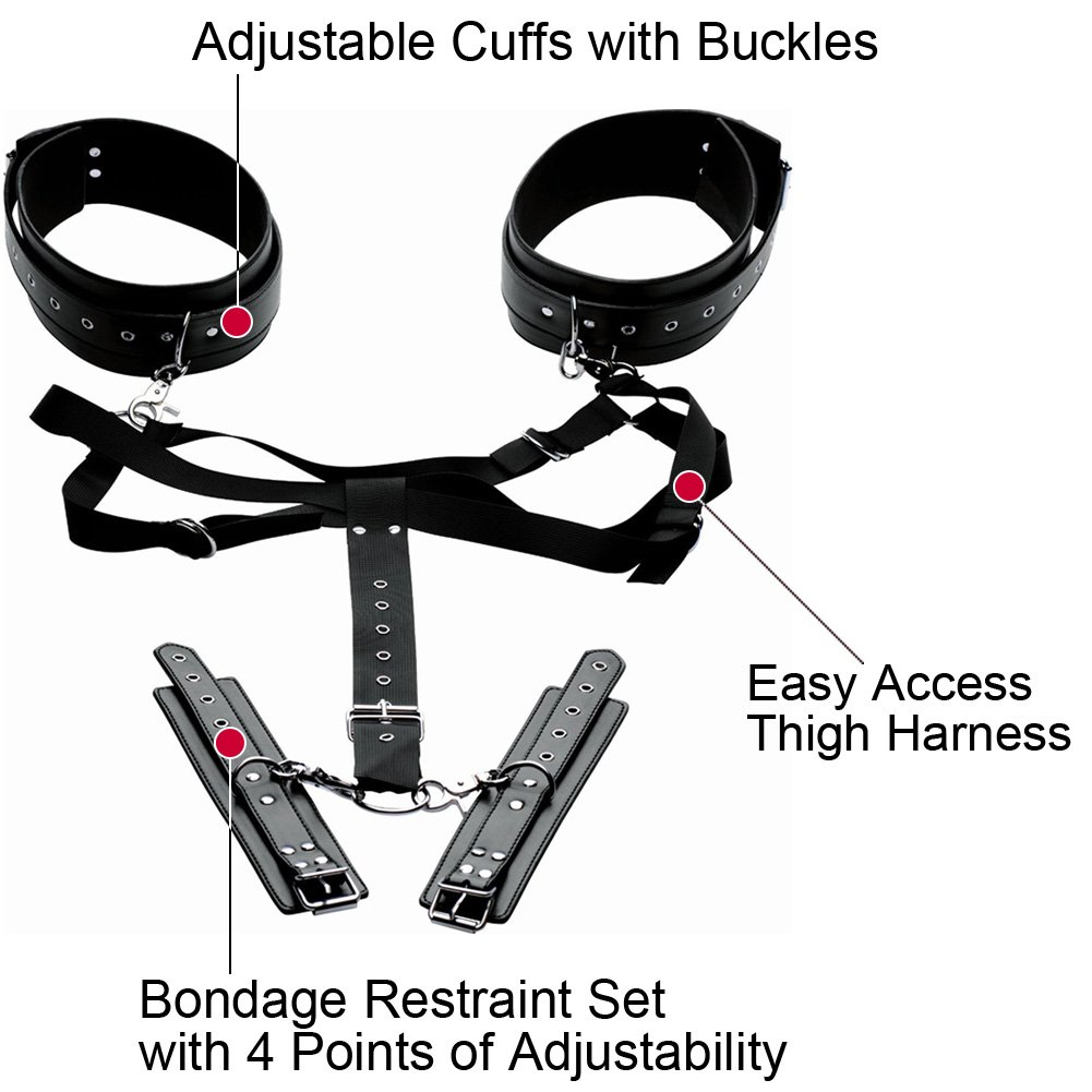Master Series Acquire Easy Access Thigh Harness With Wrist Cuffs Black - View #1