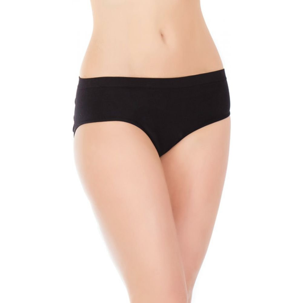 Stretch Knit Panty with Center Back Slashes One Size Black - View #2