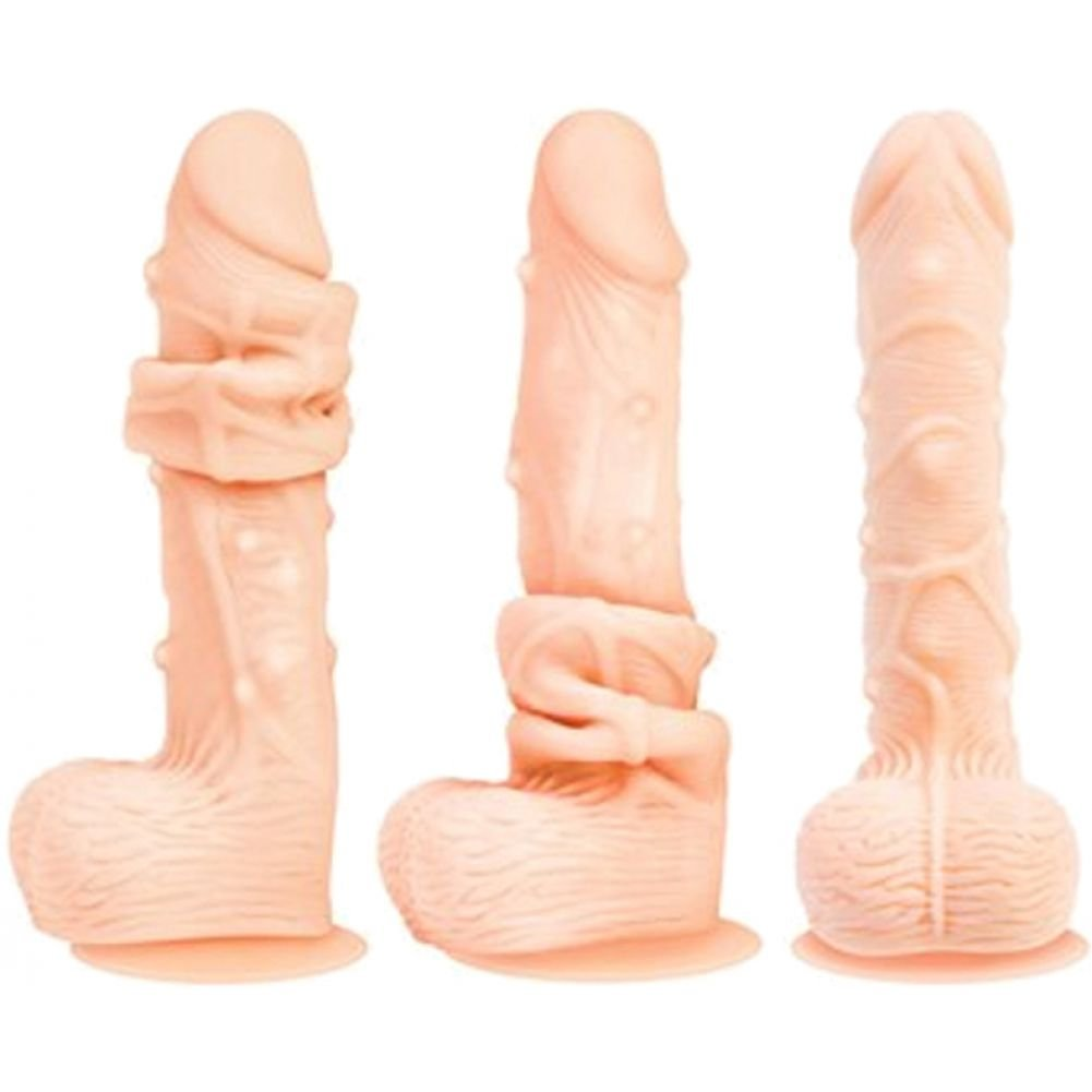 "Adam and Eve Flex Skin Dual Feel Dildo with Suction Cup 8.5"" Flesh - View #3"