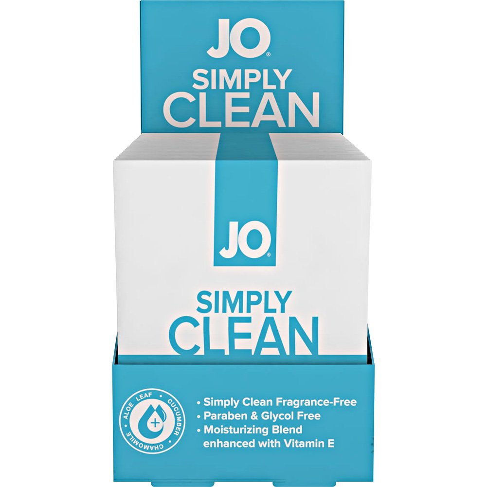 System JO Personal Cleansing Wipes Singles Simply Clean 24 Single Packs Per Box - View #2