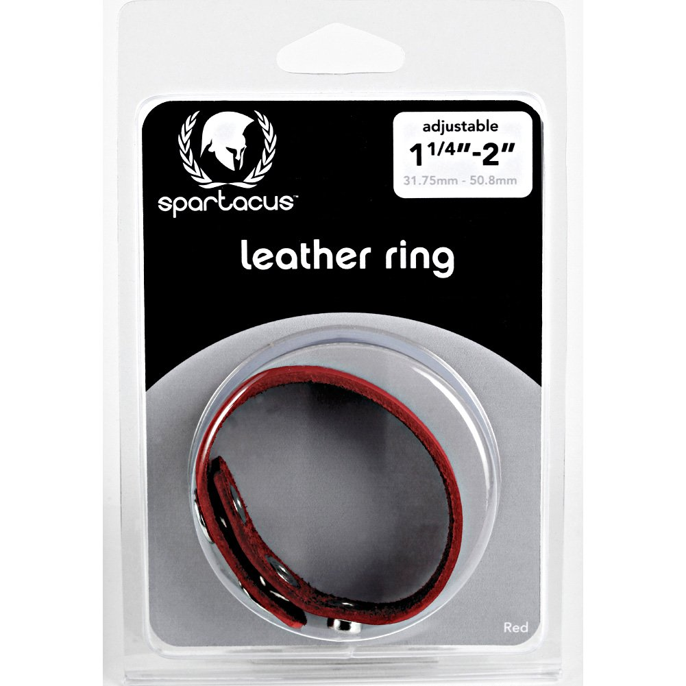 Redline Oiltan Leather Cock Ring by Spartacus Red - View #1