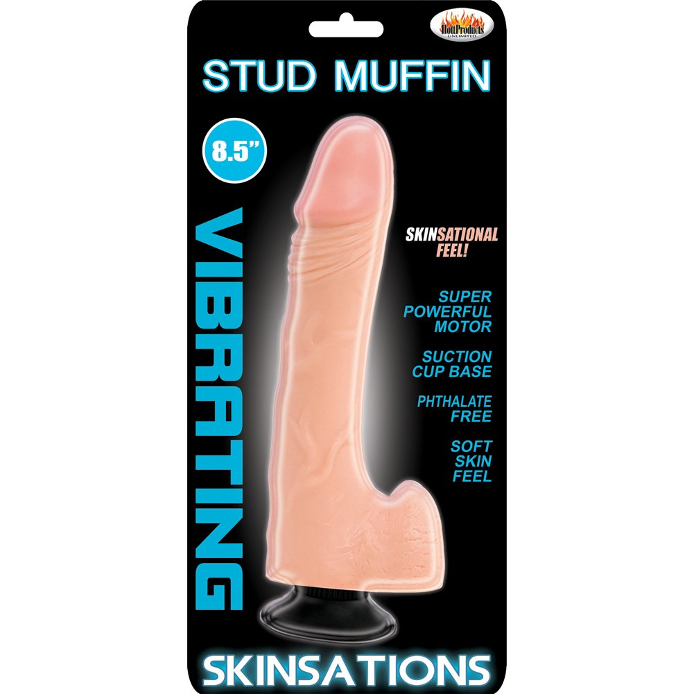 "Hott Products Skinsations Stud Muffin Vibe 8.5"" Flesh - View #1"