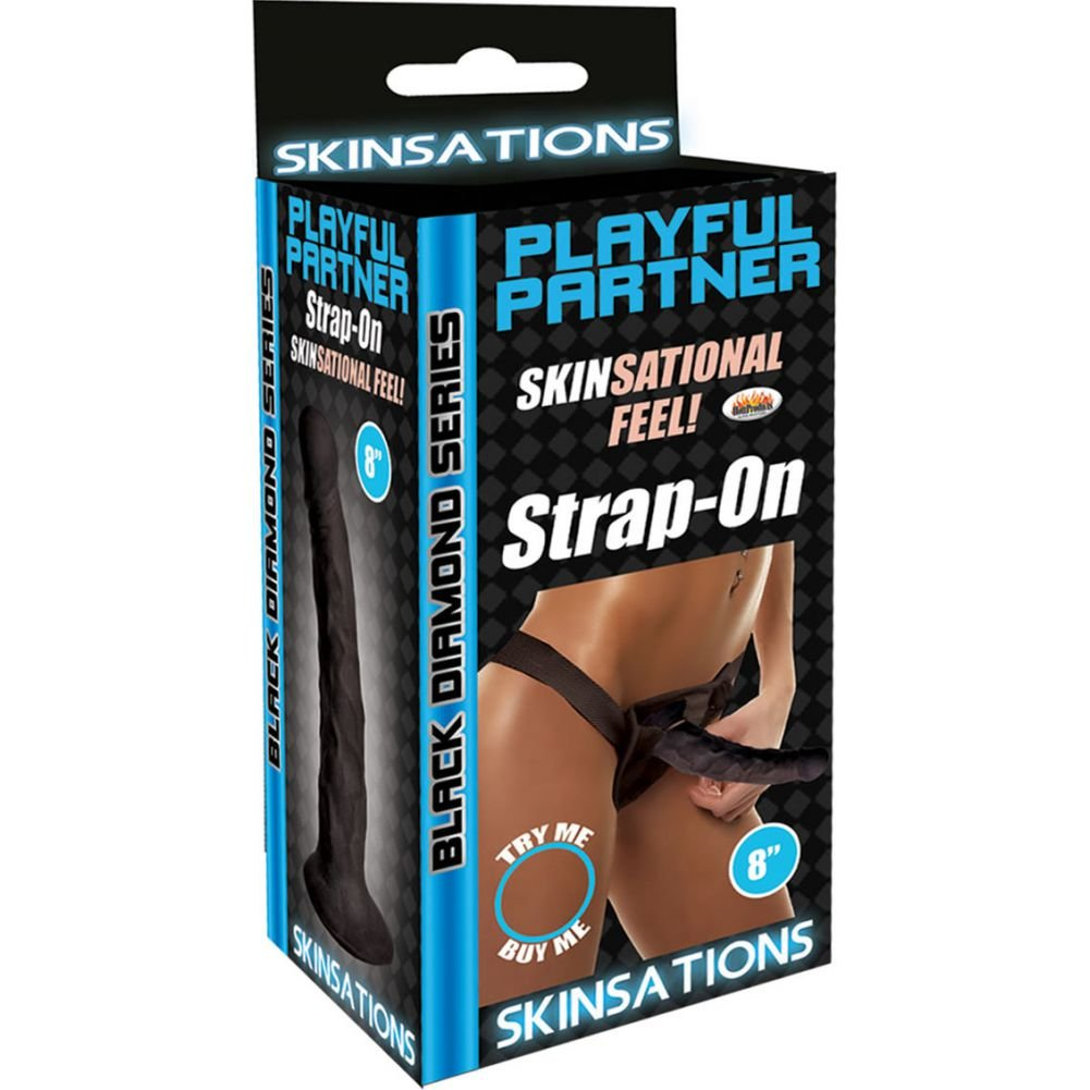 "Hott Products Skinsations Black Diamond Playful Partner Strap-On 8"" - View #1"