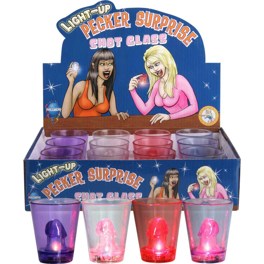 Pipedream Light Up Pecker Surprise Shot Glasses 12 Piece Display - View #1