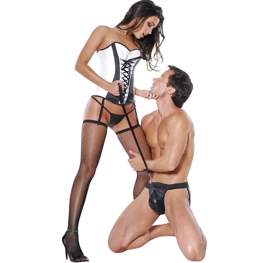 Pipedream Fetish Fantasy Leather Jockstrap and Leash Set Black - View #2