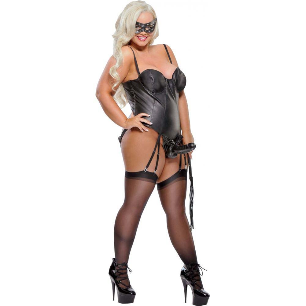 Fetish Fantasy Lingerie Strap-On Mistress Corset with Dildo Black Xxlarge - View #1