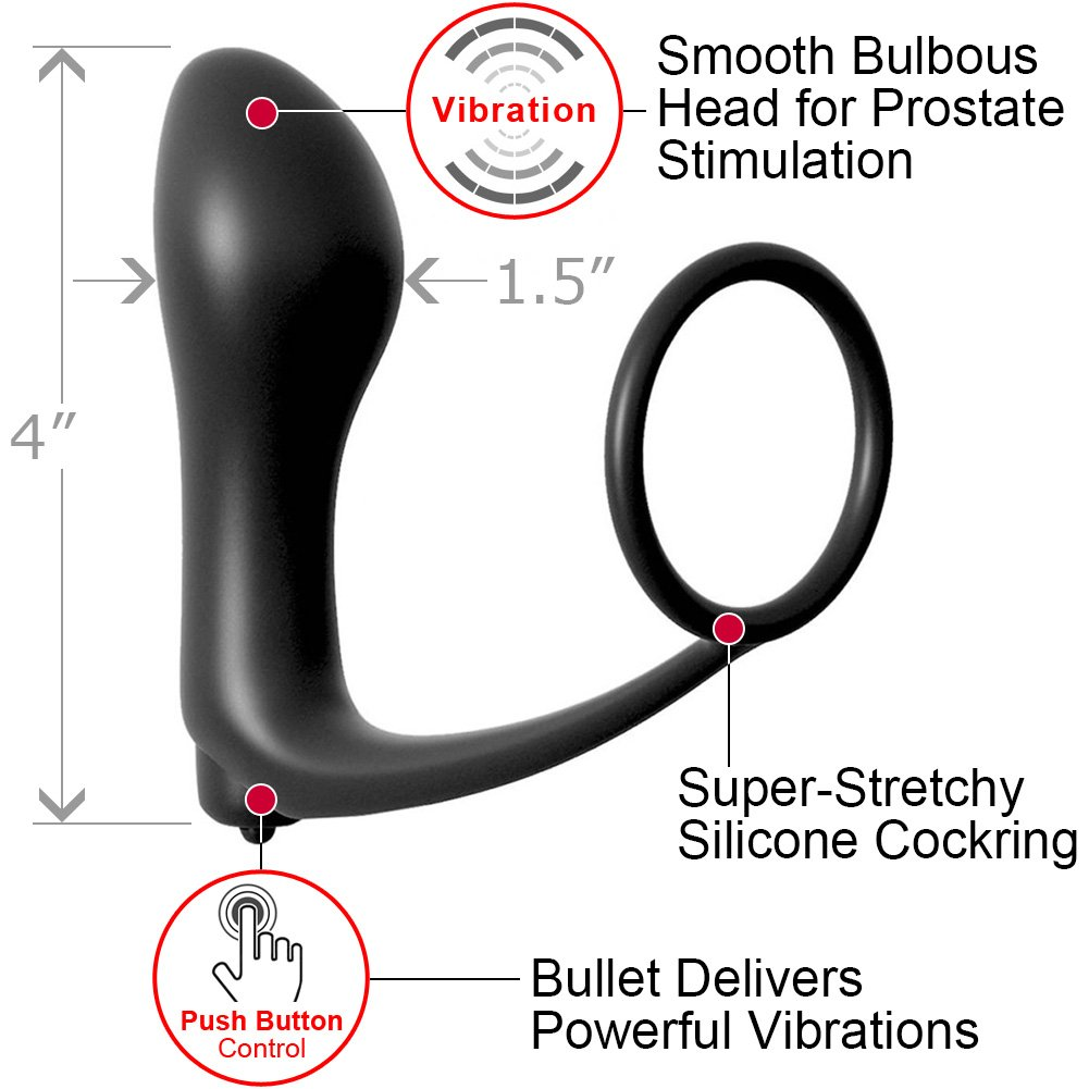 "Anal Fantasy Collection Ass Gasm Cockring Vibrating Plug 4"" Black - View #1"