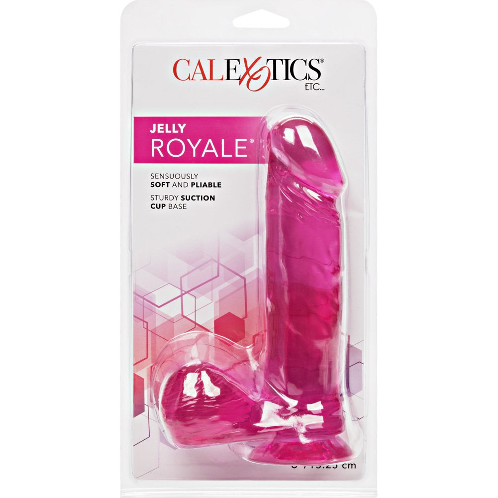 "CalExotics Jelly Royale Suction Cup Dong 6"" Hot Pink - View #4"