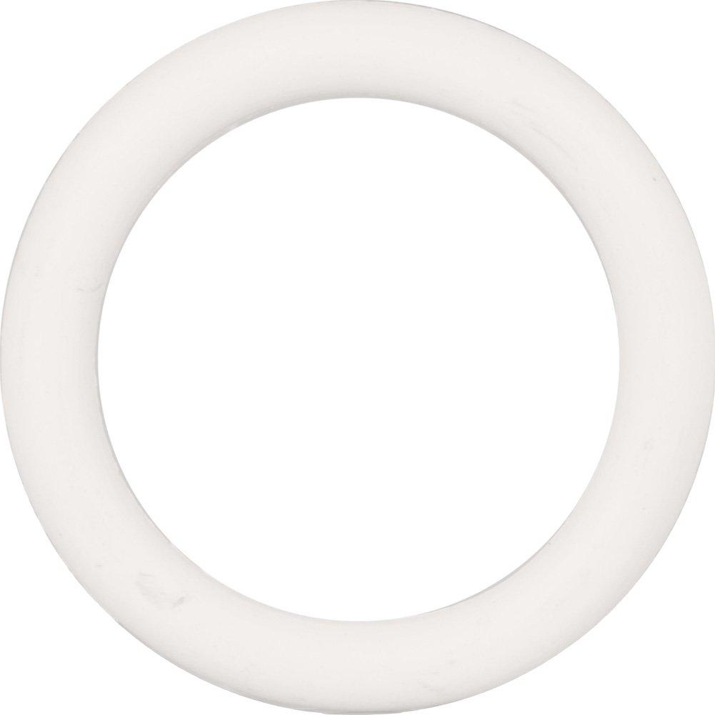 "CalExotics Medium Rubber Cock Ring 1.5"" White - View #2"