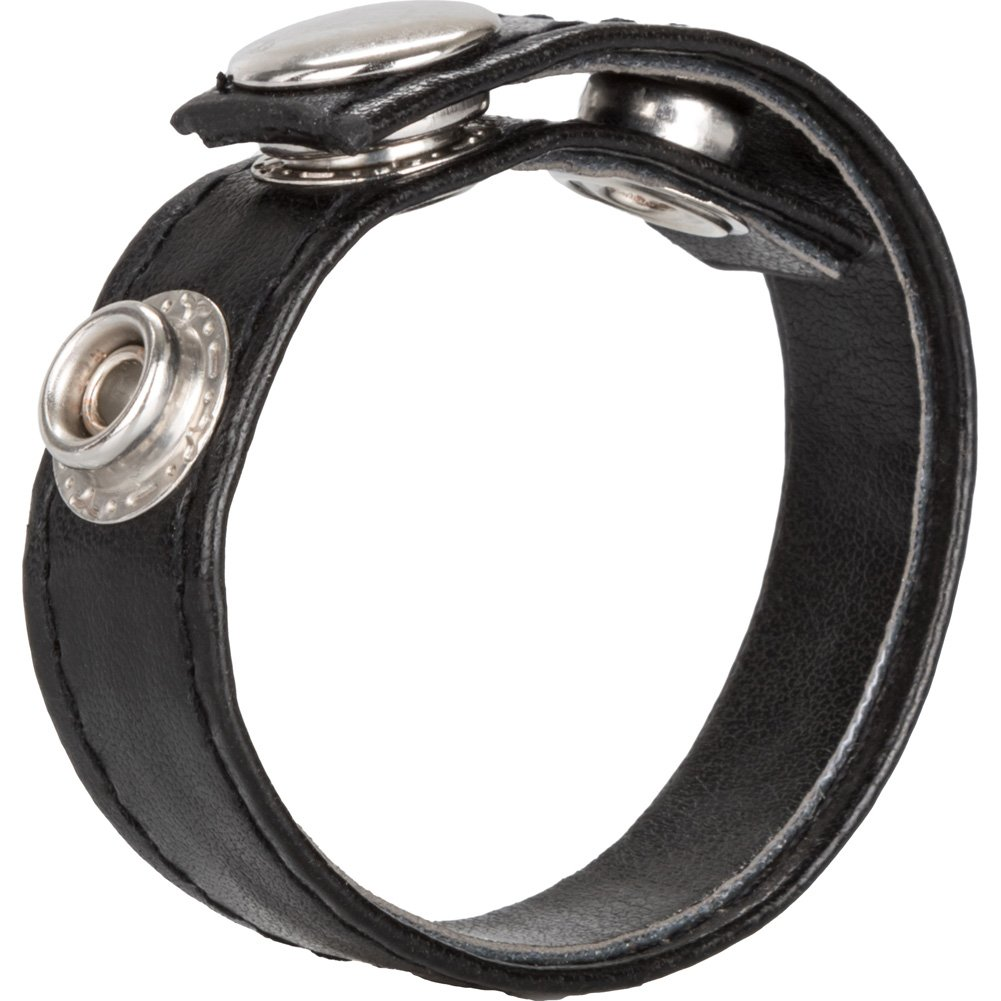 CalExotics 3 Snap Leather Cock Ring Black - View #2