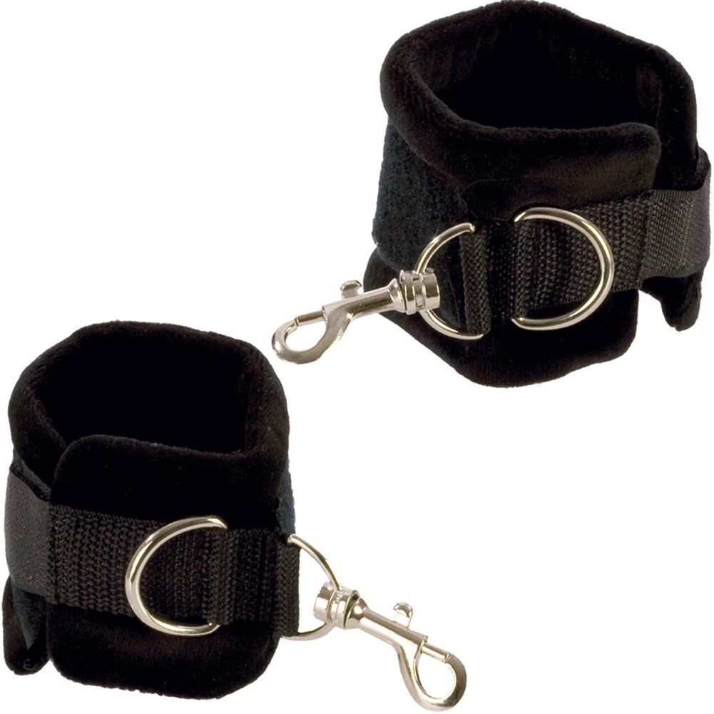 Plushy Gear Wrist Cuffs by CalExotics One Size Black - View #2