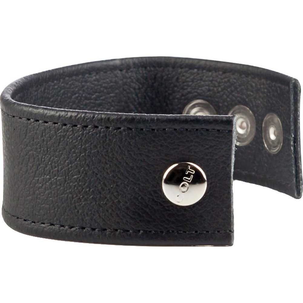 COLT by CalExotics Double Wide Leather Cock and Ball Strap Black - View #3