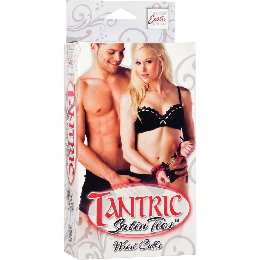 Tantric Satin Ties Wrist Cuffs by CalExotics One Size Red/Black - View #1