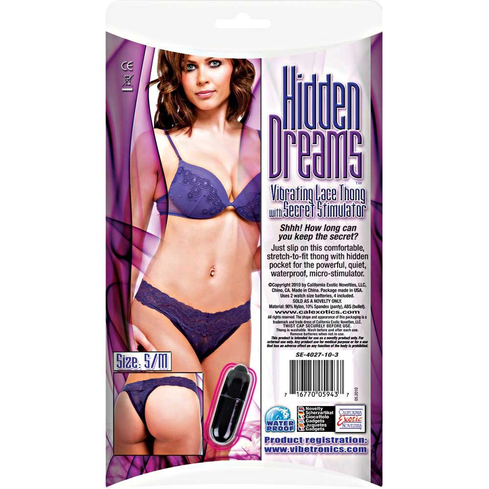 CalExotics Hidden Dreams Vibrating Lace Thong Small/Medium Purple - View #1