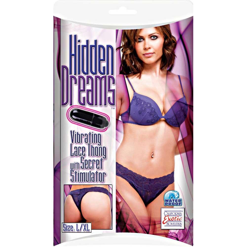 Hidden Dreams Lace Thong with Secret Stimulator by CalExotics L/XL Purple - View #2