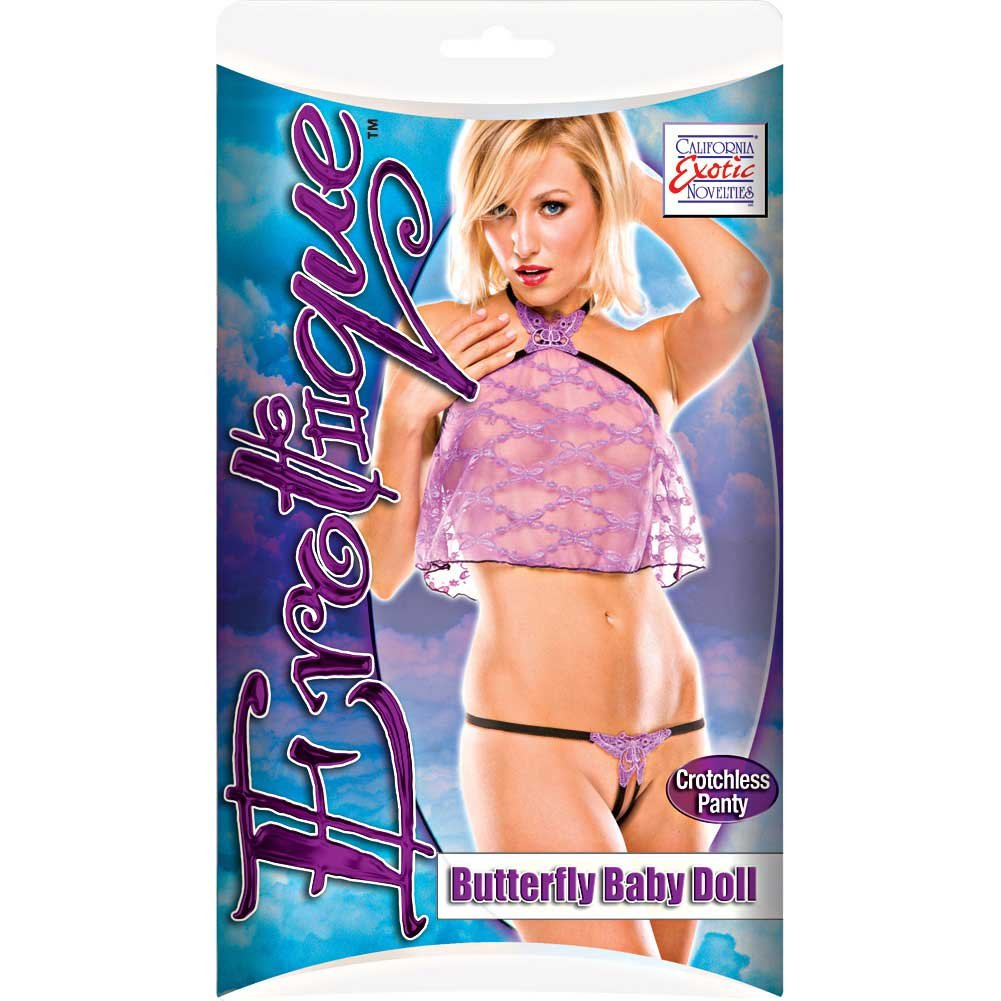 Erotique Butterfly Baby Doll by CalExotics One Size Purple/Black - View #2