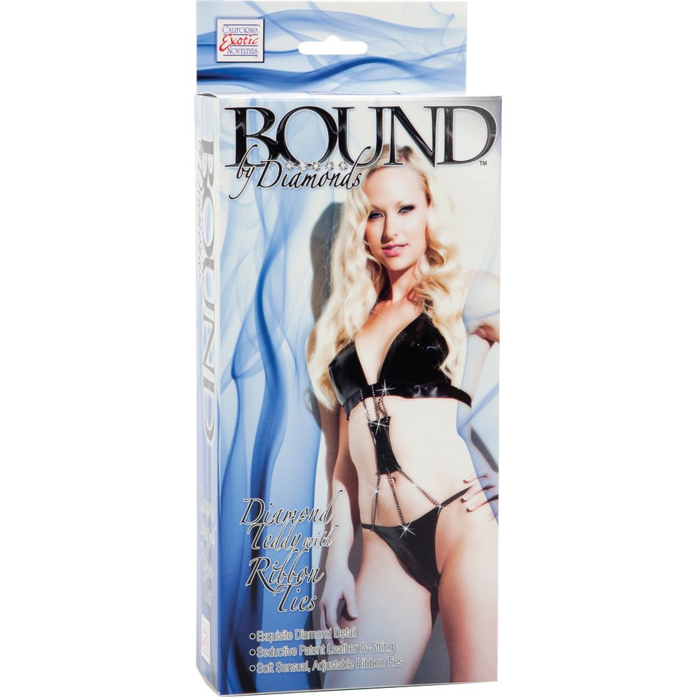 Bound by Diamonds Teddy with Ribbon Ties by CalExotics One Size Black - View #2