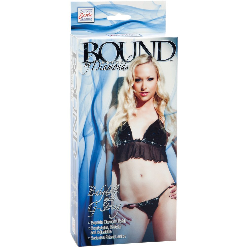 Bound by Diamonds Babydoll with G-String by CalExotics One Size Black - View #2