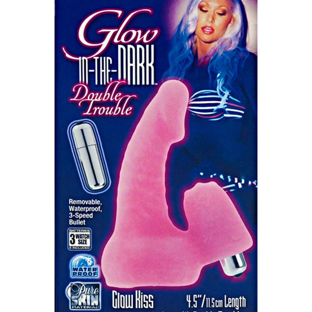 "CalExotics Glow-in-the-Dark Double Trouble Glow Kiss Vibrator 5"" Pink - View #1"