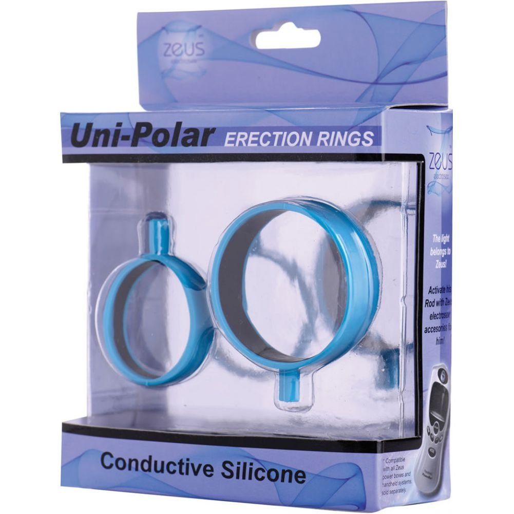 Zeus Uni Polar Electro Silicone Erection Rings Blue - View #3